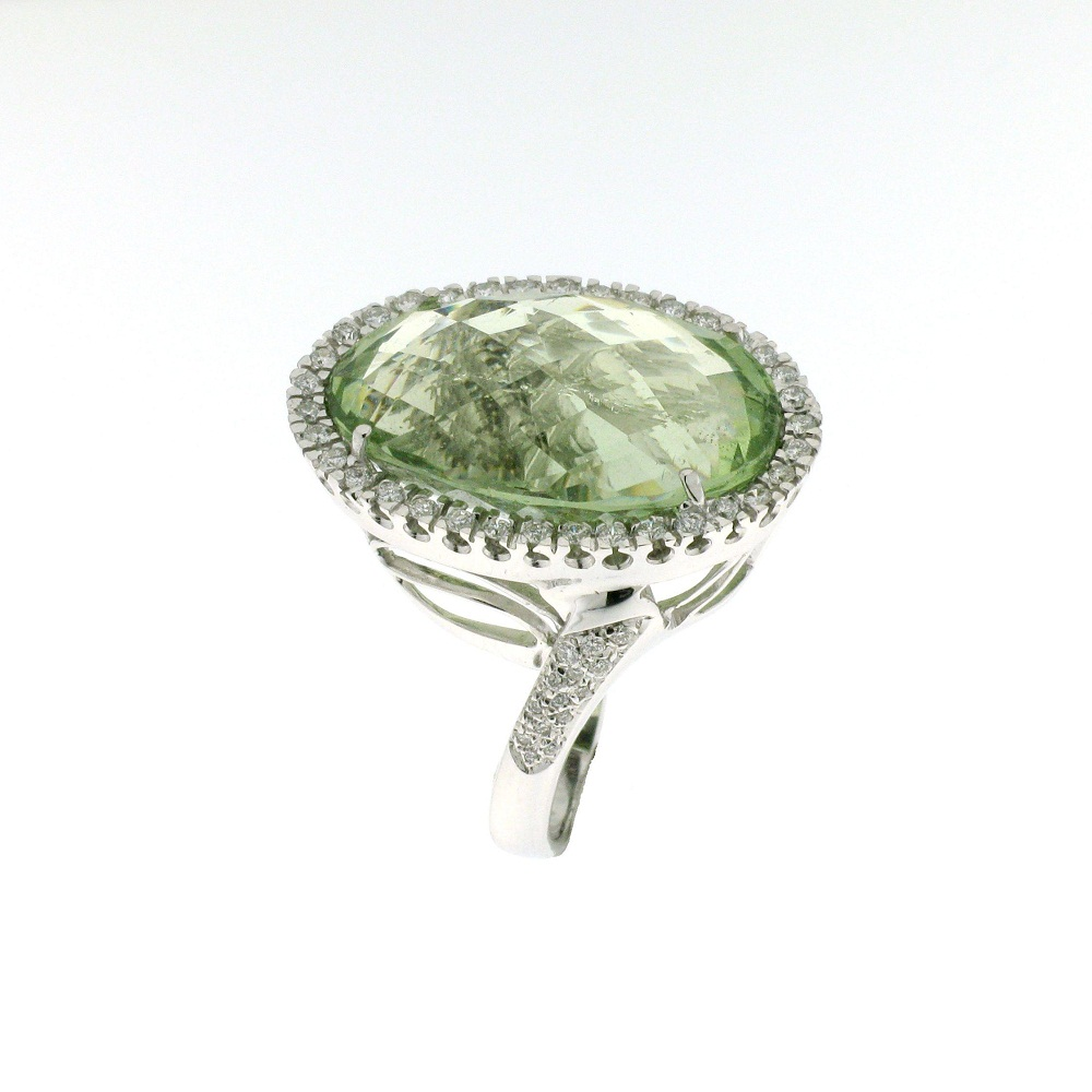 Anello con acqua marina green